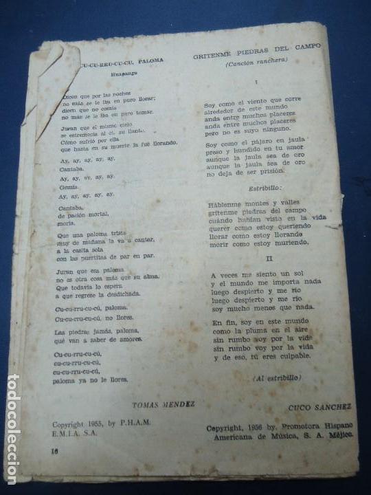 Partituras musicales: 1956 CANCIONERO DE MIGUEL ACEVES MEJIA CON 16 PÁGINAS - Foto 10 - 99798727