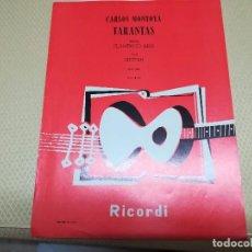 Partituras musicales: RARA PARTITURA DE MÚSICA PARA GUITARRA CARLOS MONTOYA TARANTAS AÑO 1957 MIREN FOTOS. Lote 99904963