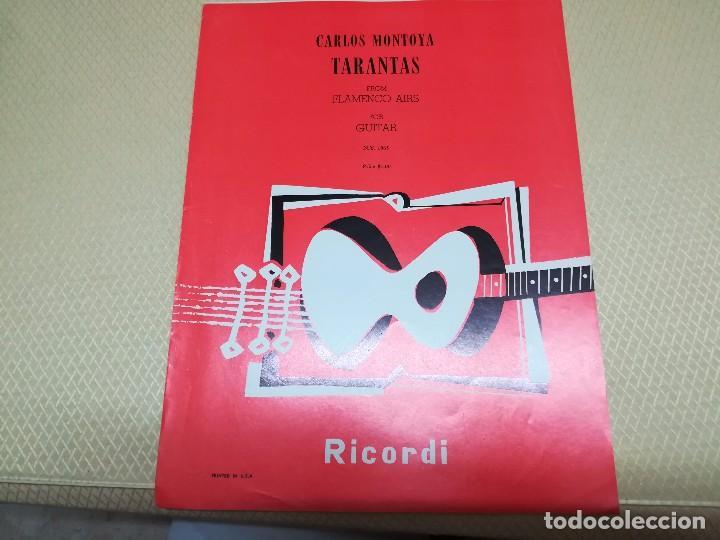 Partituras musicales: Rara Partitura de música para guitarra Carlos Montoya tarantas año 1957 miren fotos - Foto 5 - 99904963