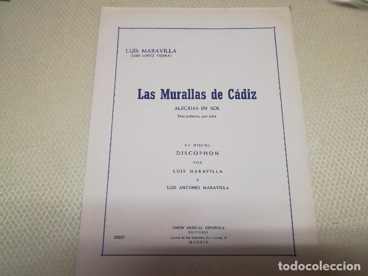 RARA PARTITURA DE MÚSICA PARA GUITARRA LUIS MARAVILLA LAS MURALLAS DE CADIZ U.M.E AÑO 1964 (Música - Partituras Musicales Antiguas)
