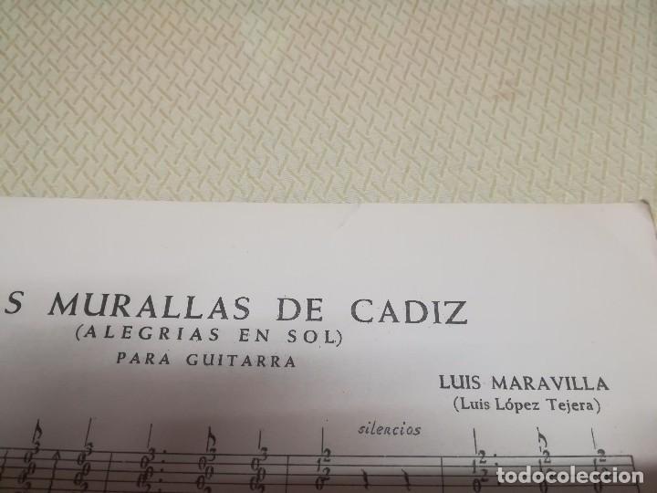 Partituras musicales: Rara Partitura de música para guitarra luis maravilla las murallas de cadiz u.m.e año 1964 - Foto 2 - 99905287