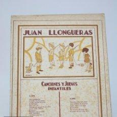 Partituras musicales: PARTITURA CANCIONES Y JUEGOS INFANTILES - JUAN LLONGUERS - EDICIONES UNIÓN MUSICAL ESPAÑOLA. Lote 99933907