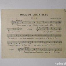Partituras musicales: PARTITURA MISA DE LOS FIELES. ALFREDO DE LA ROZA. TDKP2. Lote 101920703
