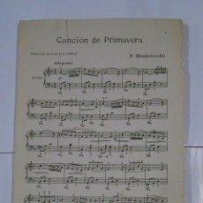 Partituras musicales: CANCION DE PRIMAVERA. F. MENDELSSOHN. EDITORIAL BOILEAU BARCELONA. TDKPR2. Lote 102342979