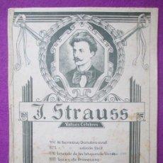 Partituras musicales: PARTITURA MUSICA, J. STRAUSS, VALSES CELEBRES, DANUBIO AZUL, 10 HOJAS, PA11. Lote 105190627