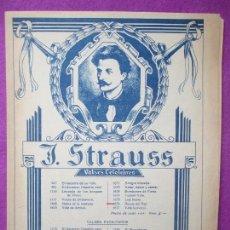 Partituras musicales: PARTITURA MUSICA, J. STRAUSS, VALSES CELEBRES, 9 HOJAS, PA17. Lote 105192495