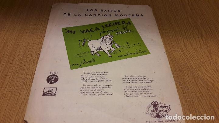 PARTITURA !! MI VACA LECHERA - FOX-CANCIÓN DEL OESTE / ED. HISPANIA - MADRID (Música - Partituras Musicales Antiguas)