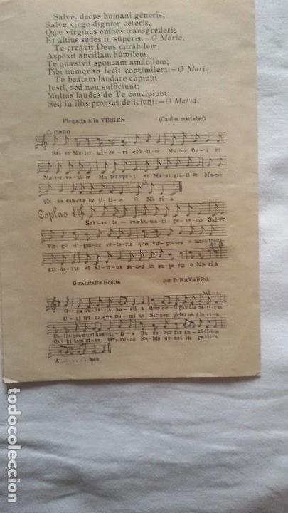 Partituras musicales: Motetes al Santísimo y Plegaria a la Virgen, Zaragoza, 1913. Díptico - - Foto 3 - 107415943