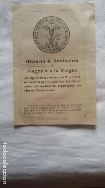 MOTETES AL SANTÍSIMO Y PLEGARIA A LA VIRGEN, ZARAGOZA, 1913. DÍPTICO - (Música - Partituras Musicales Antiguas)