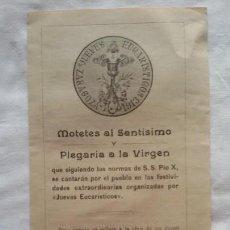 Partituras musicales: MOTETES AL SANTÍSIMO Y PLEGARIA A LA VIRGEN, ZARAGOZA, 1913. DÍPTICO -. Lote 107415943