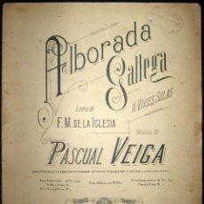 Partituras musicales: PARTITURA PARA PIANO DE ALBORADA GALLEGA. CASA DOTESIO, MADRID. PRINCIPIOS DE SIGLO XX.. Lote 109036527