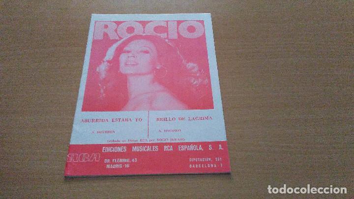 PARTITURA - ROCIO JURADO - 2 CANCIONES - ABURRIDA ESTABA YO / BRILLO DE LAGRIMA (Música - Partituras Musicales Antiguas)