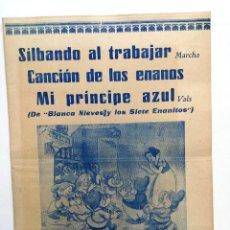 Partituras musicales: PARTITURA.SILBANDO AL TRABAJAR.CANCION DE LOS ENANOS,MI PRINCIPE AZUL-MUSICA FRANK CHURCHILL.DISNEY.. Lote 110529895