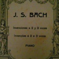 Partituras musicales: J. S. BACH. INVENCIONES A 2 Y 3 VOCES. PIANO. EDITORIAL BOILEAU. Lote 110894139