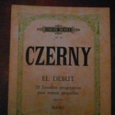 Partituras musicales: CZERNY. EL DEBUT 25 ESTUDIOS PROGRESIVOS PARA MANOS PEQUEÑAS.OP. 748.BOILEAU.ED. IBERICA Nº 34. Lote 110896539