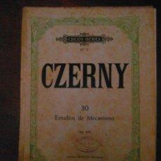 Partituras musicales: CZERNY. Nº 30. ESTUDIOS DE MECANISMO. OP. 849. EDITORIAL BOILEAU.EDICION IBERICA Nº 7. Lote 110899971
