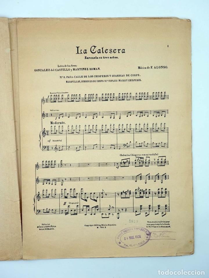 Partituras musicales: PARTITURA LA CALESERA ZARZUELA EN TRES ACTOS (Maestro Alonso) Música española, 1925 - Foto 4 - 113594574
