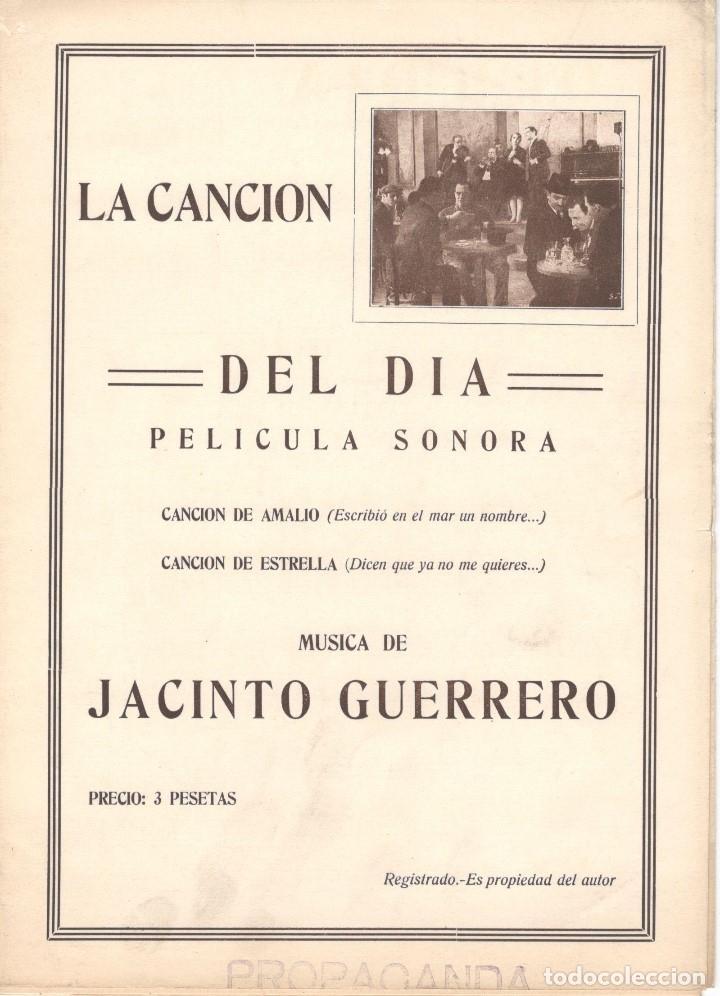 LA CANCION DEL DIA (1930) PELÍCULA SONORA. MÚSICA DE JACINTO GUERRERO. PRIMERA EDICIÓN (Música - Partituras Musicales Antiguas)