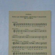 Partituras musicales: TONOS PARA LAS ORACIONES, LECTURAS Y DIALOGOS DE LA MISA. COMISION EPISCOPAL DE LITURGIA. TDKP1. Lote 113993767