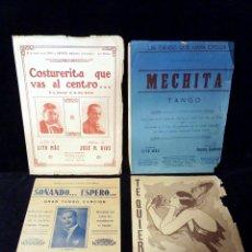 Partituras musicales: LOTE DE 4 PARTITURAS. TANGOS Y PASODOBLE. LETRAS LITO MAS. BUENOS AIRES, AÑOS 20-30. Lote 115083215