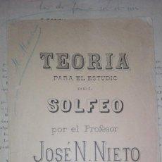 Partiture musicali: TERORIA SOLFEO JOSE N NIETO. Lote 115118847