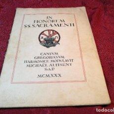 Partituras musicales: PARTITURA 34 CANTOS GREGORIANOS ESCOLA PIA DE TERRASSA -MIQUEL ALTISENT 1930. Lote 115235219