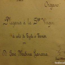 Partituras musicales: PLEGARIA A VIRGEN TENOR 1900 SUECA F ROGLA Y J MEDINA GARCIA PARTITUA MANUSCRITA ANTIGUA. Lote 115279195