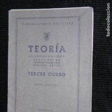 Partituras musicales: F1 PARTITURA TEORIA TERCER CURSO CONSERVATORIO DEL LICEO AÑO 1950. Lote 115900443
