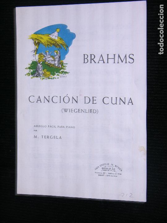 F1 PARTITURA BRAHMS CANCION DE CUNA WIEGENLIED ARREGLO FACIL PARA PIANO POR M.TERGELA (Música - Partituras Musicales Antiguas)
