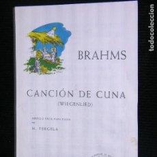 Partituras musicales: F1 PARTITURA BRAHMS CANCION DE CUNA WIEGENLIED ARREGLO FACIL PARA PIANO POR M.TERGELA. Lote 115927395