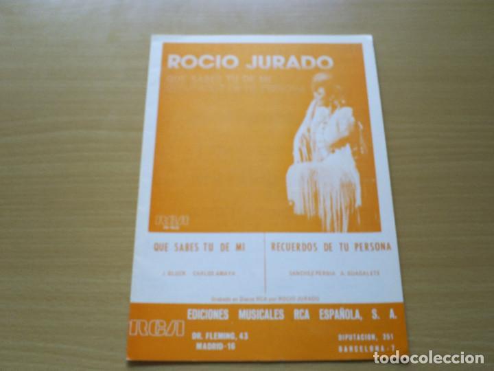 PARTITURA ROCIO JURADO QUE SABES TU DE MI - GLUCK AMAYA / RECUERDOS DE TU PERSONA - PERNIA GUADALETE (Música - Partituras Musicales Antiguas)