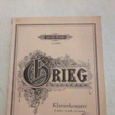 Partituras musicales: GRIEG. KLAVIERKONZERT. OPUS 16. 65PÁGINAS.. Lote 116450331