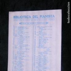 Partituras musicales: F1 BIBLIOTECA DEL PIANISTA CELEBRE ARIA DE LA SUITE EN RE J.S. BACH. Lote 118654295