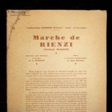 Partituras musicales: PARTITURAS PARA BANDA. MARCHE DE RIENZI. R. WAGNER. COLLECTION ANDRIEU FRÈRES. PARIS. Lote 119264103