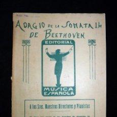 Partituras musicales: PARTITURAS PARA BANDA. ADAGIO DE LA SONATA 14 DE BEETHOVEN. ED. MÚSICA ESPAÑOLA, REF. 612. AÑO 1924. Lote 119264227