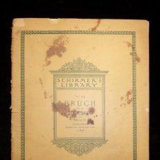 Partituras musicales: CONCIERTO PARA VIOLÍN, OP. 26, BRUCH. PARTITURA PARA VIOLÍN Y ACOMPAÑAMIENTO PIANO. CHIRMER,S 1900. Lote 119264579