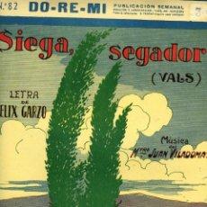 Partiture musicali: SIEGA, SEGADOR (VALS), CREACIÓN DE RAMONCITA ROVIRA, COLECCIÓN DO-RE-MI Nº 82, 1927. Lote 120030819
