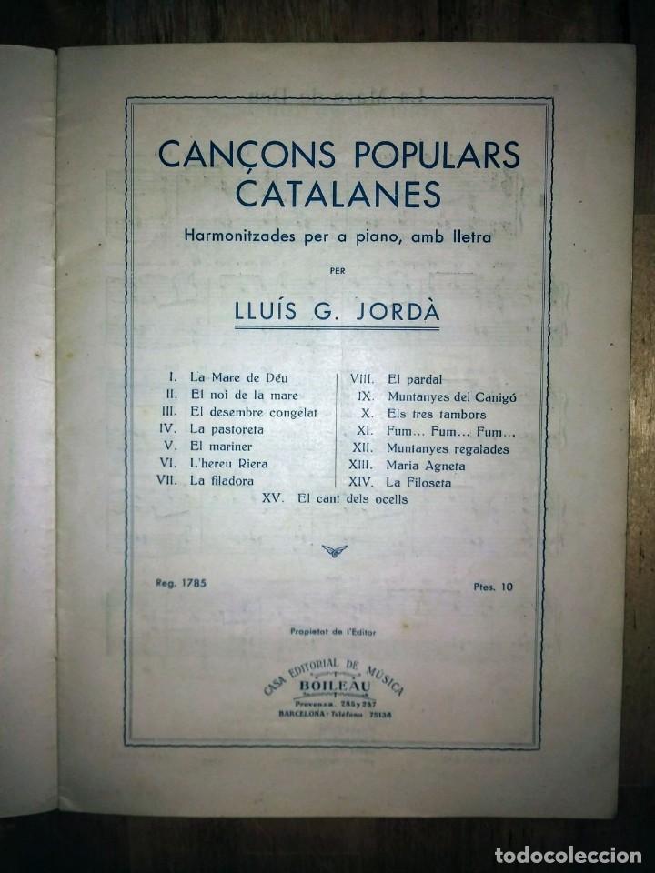 Partituras musicales: Cançons populars catalanes Lluis G Jorda Boileau partitures harmonitzades per a piano amb lletra - Foto 3 - 120139291