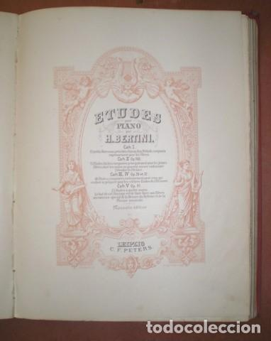 Partituras musicales: ESTUDIOS PARA PIANO. Bertini, Czerny, Dussek, Heller... Partituras (7 obras en 1 vol.). C.1900 - Foto 6 - 122089279