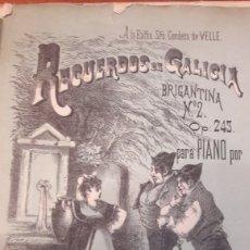Partituras musicales: GALICIA PARTITURA RECUERDOS BRIGANTINA. Lote 122167219