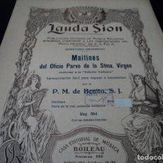 Partituras musicales: MAITINES DEL OFICIO PARVO PARA ORGANO O HARMONIUM POR BENITO S. J. 6 PAG.. Lote 124251131
