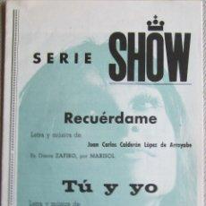 Partituras musicales: MARISOL: PARTITURA PARA RECUÉRDAME / TÚ Y YO). EDICIONES MUSICALES ZAFIRO. 1972. Lote 125153207