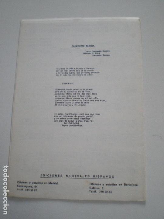Partituras musicales: RICHARD CLAYDERMAN / LOS MARISMEÑOS - Balada Para Adeline. Quiereme Maria - PARTITURAS HISPAVOX 197? - Foto 3 - 126942023