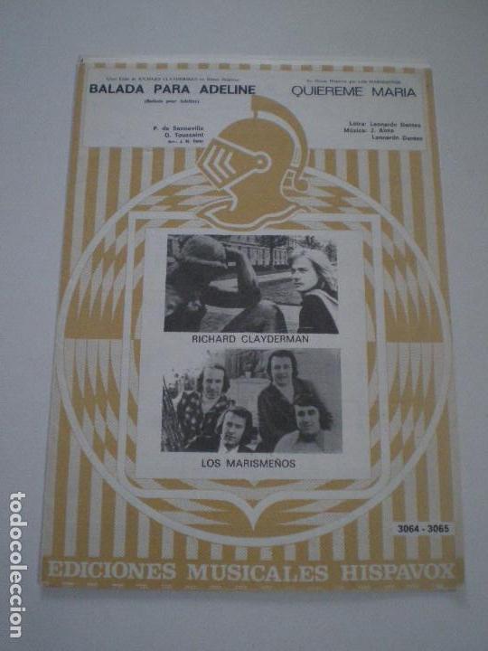 RICHARD CLAYDERMAN / LOS MARISMEÑOS - BALADA PARA ADELINE. QUIEREME MARIA - PARTITURAS HISPAVOX 197? (Música - Partituras Musicales Antiguas)