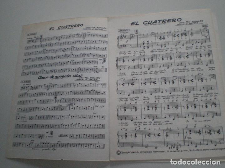 Partituras musicales: MARIAN Y SU CONJUNTO - El Cuatrero- PARTITURAS J.OLTRA JEFE ORQUESTA MAJESTIC HOTEL BARCELONA 1960s - Foto 2 - 126980231