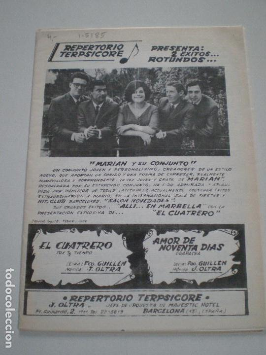 MARIAN Y SU CONJUNTO - EL CUATRERO- PARTITURAS J.OLTRA JEFE ORQUESTA MAJESTIC HOTEL BARCELONA 1960S (Música - Partituras Musicales Antiguas)