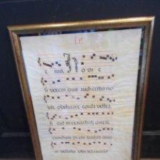 Partitions Musicales: PARTITURA EN PERGAMINO CANTO GREGORIANO SIGLO XVII ENMARCADA MED.: 60X40 CMS. (T6). Lote 128419943