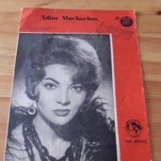 Partituras musicales: PARTITURA ADIOS MUCHACHOS SARA MONTIEL VEDANI SANDERS / RAMON SIERRA MURCIA. Lote 129299458