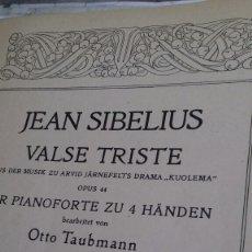 Partituras musicales: PARTITURA PIANO.JEAN SIBELIUS.VALSE TRISTE. Lote 131450557