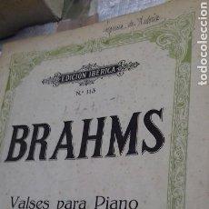 Partituras musicales: PARTITURA PIANO.BRAHMS.VALSES PARA PIANO. Lote 131451417